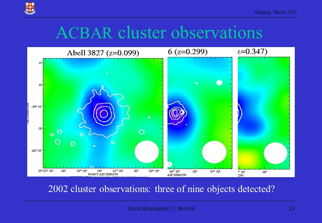 Nanjing, March 2003 Mark Birkinshaw, U. Bristol23 A CBAR cluster observations 2002 cluster observations: three of nine objects detected?