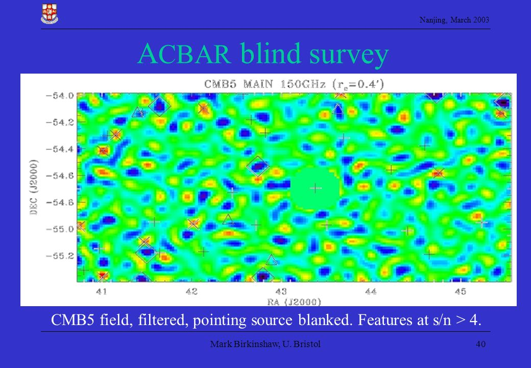 Nanjing, March 2003 Mark Birkinshaw, U. Bristol40 A CBAR blind survey CMB5 field, filtered, pointing source blanked. Features at s/n > 4.
