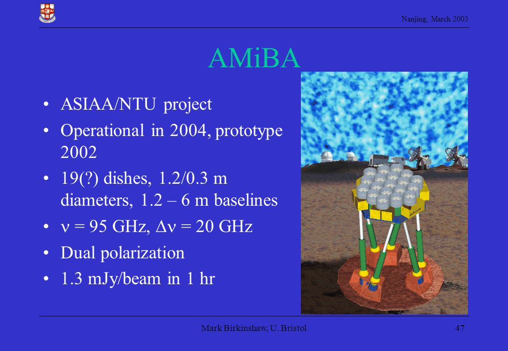Nanjing, March 2003 Mark Birkinshaw, U. Bristol47 AMiBA ASIAA/NTU project Operational in 2004, prototype 2002 19(?) dishes, 1.2/0.3 m diameters, 1.2 –