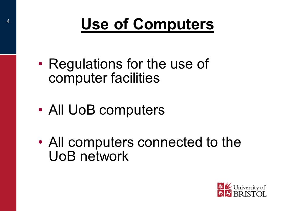 5 Users must not: Use computers to break the law: –e.g.