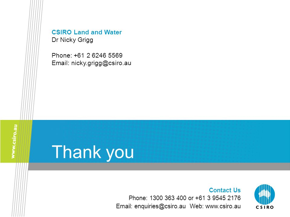 Contact Us Phone: 1300 363 400 or +61 3 9545 2176 Email: enquiries@csiro.au Web: www.csiro.au Thank you CSIRO Land and Water Dr Nicky Grigg Phone: +61