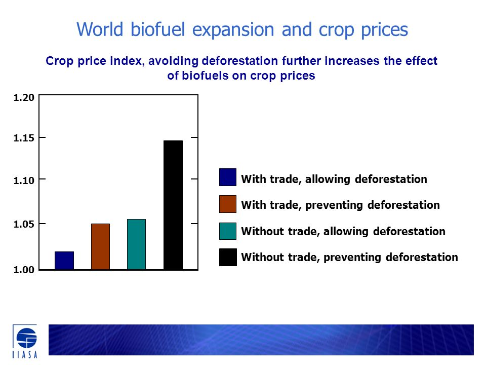 Crop price index, avoiding deforestation further increases the effect of biofuels on crop prices With trade, allowing deforestation With trade, preventing deforestation Without trade, allowing deforestation Without trade, preventing deforestation 1.10 1.05 1.00 1.15 1.20 World biofuel expansion and crop prices