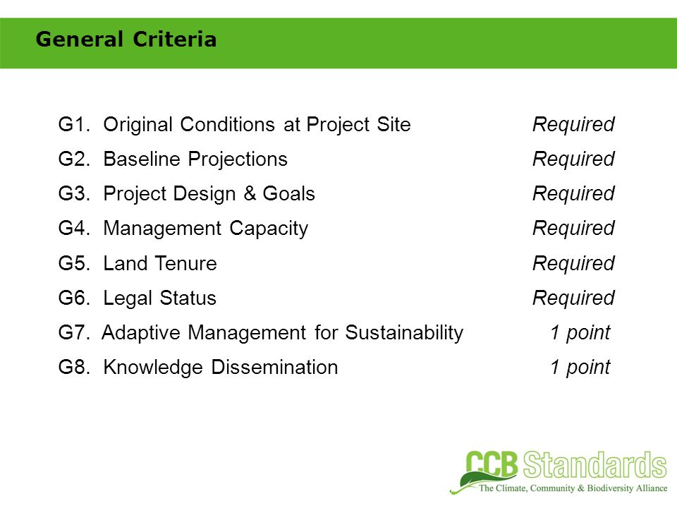 C1.Net Positive Climate ImpactsRequired C2. Offsite Climate Impacts (Leakage)Required C3.