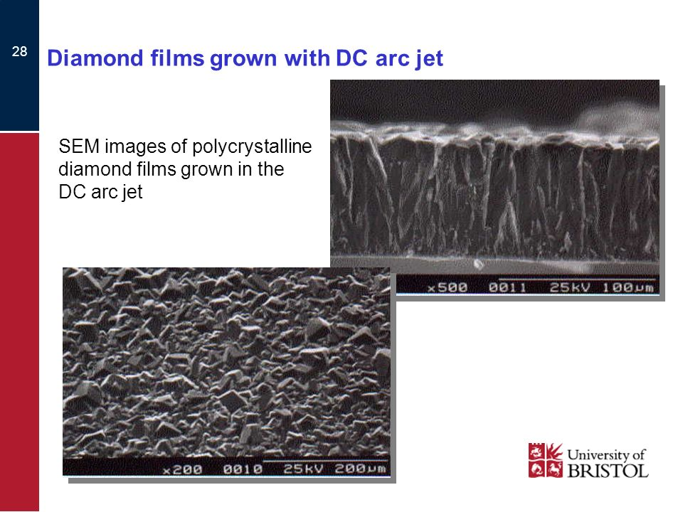 28 Diamond films grown with DC arc jet SEM images of polycrystalline diamond films grown in the DC arc jet