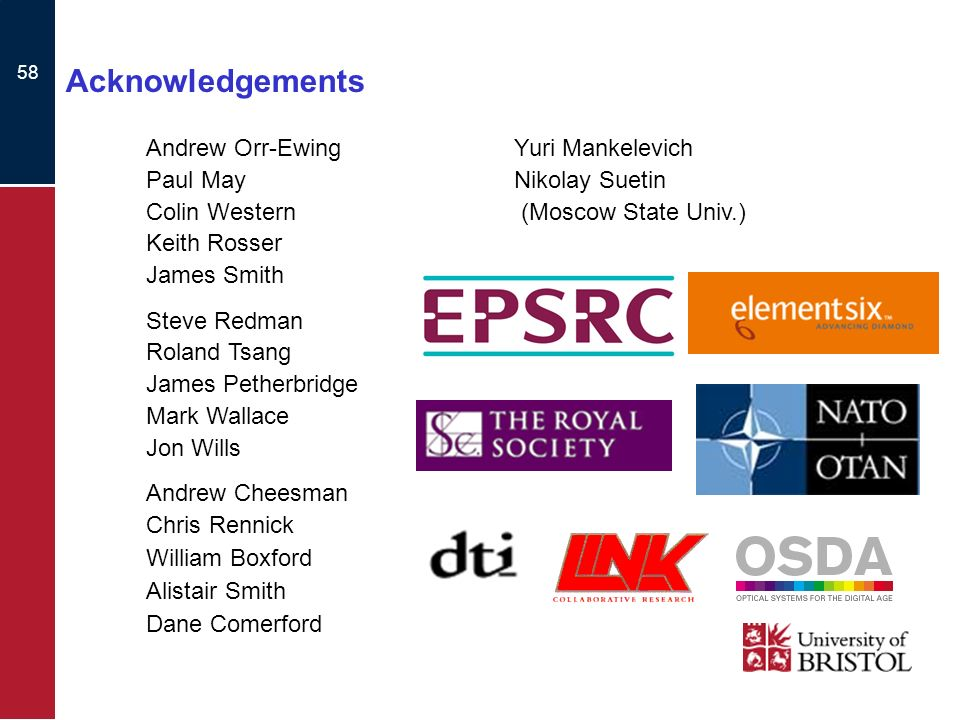 58 Acknowledgements Andrew Orr-Ewing Paul May Colin Western Keith Rosser James Smith Steve Redman Roland Tsang James Petherbridge Mark Wallace Jon Wills Andrew Cheesman Chris Rennick William Boxford Alistair Smith Dane Comerford Yuri Mankelevich Nikolay Suetin (Moscow State Univ.)