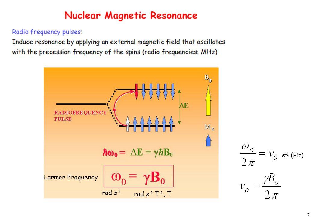 7 rad s -1 rad s -1 T -1. T s -1 (Hz) Larmor Frequency