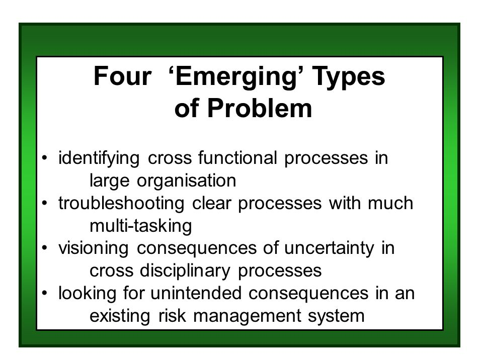 Four Emerging Types of Problem identifying cross functional processes in large organisation troubleshooting clear processes with much multi-tasking visioning consequences of uncertainty in cross disciplinary processes looking for unintended consequences in an existing risk management system