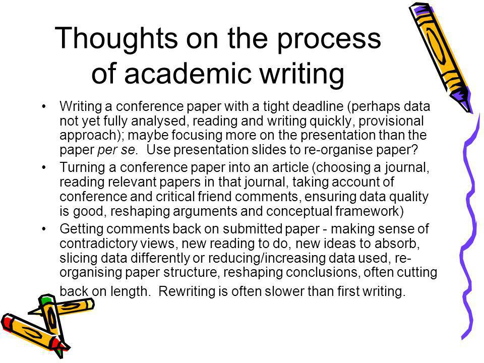 Thoughts on the process of academic writing Writing a conference paper with a tight deadline (perhaps data not yet fully analysed, reading and writing