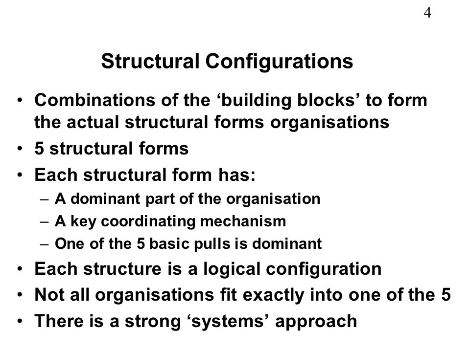 4 Structural Configurations Combinations of the building blocks to form the actual structural forms organisations 5 structural forms Each structural f