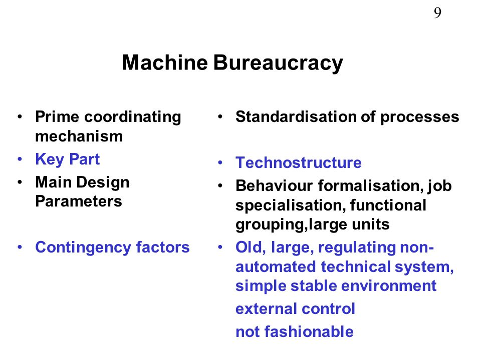 9 Prime coordinating mechanism Key Part Main Design Parameters Contingency factors Standardisation of processes Technostructure Behaviour formalisatio