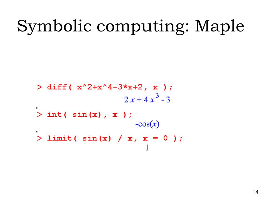 14 Symbolic computing: Maple
