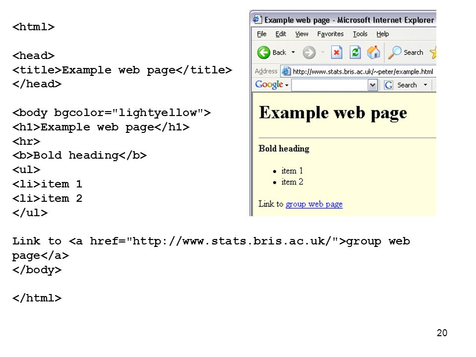 20 Example web page Example web page Bold heading item 1 item 2 Link to group web page