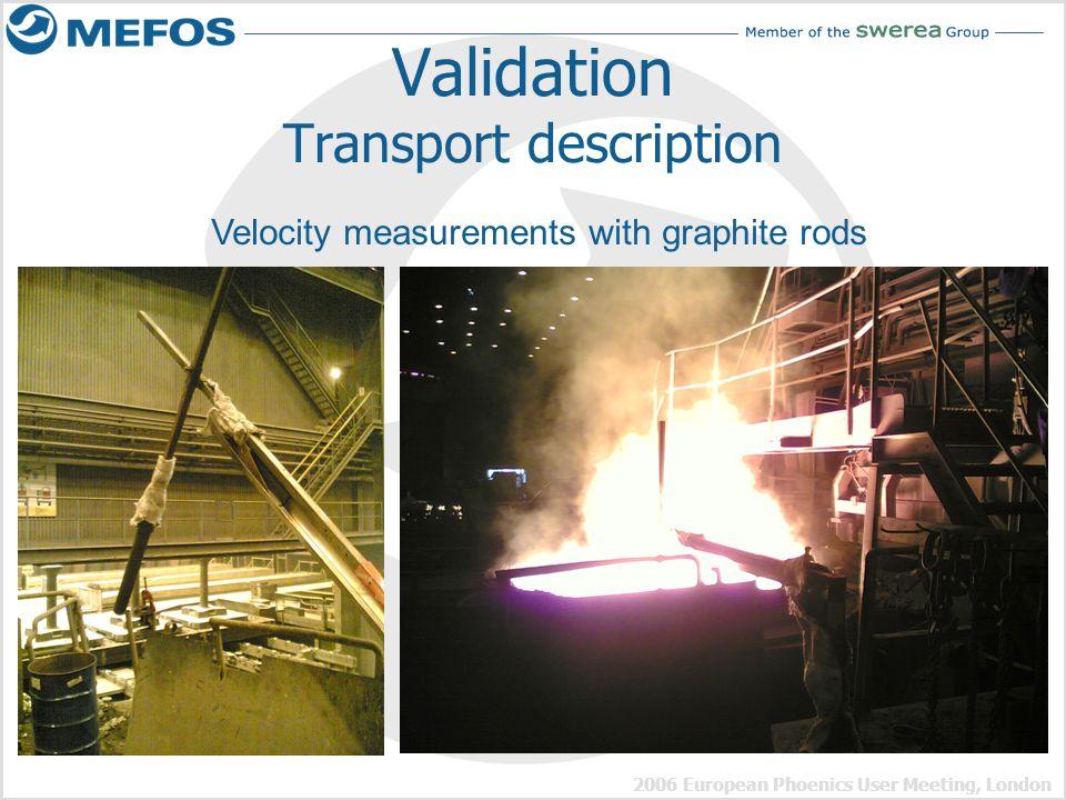 2006 European Phoenics User Meeting, London Validation Transport description Velocity measurements with graphite rods