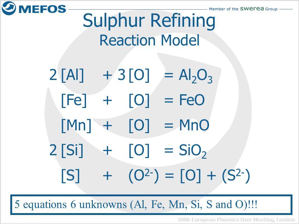 2006 European Phoenics User Meeting, London Sulphur Refining Reaction Model 2[Al] + 3[O] = Al 2 O 3 [Fe] + [O] = FeO [Mn] + [O] = MnO 2[Si] + [O] = Si