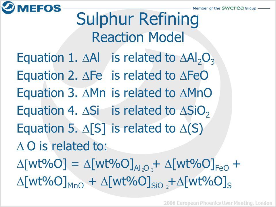 2006 European Phoenics User Meeting, London Sulphur Refining Reaction Model Equation 1. Al is related to Al 2 O 3 Equation 2. Fe is related to FeO Equ