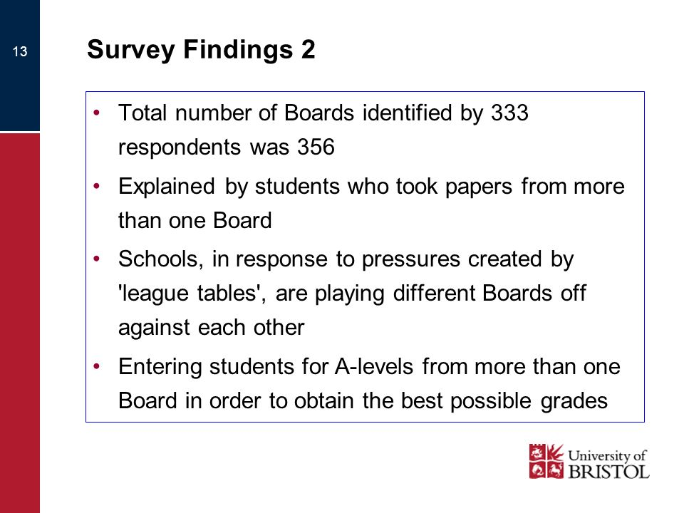 13 Survey Findings 2 Total number of Boards identified by 333 respondents was 356 Explained by students who took papers from more than one Board Schools, in response to pressures created by league tables , are playing different Boards off against each other Entering students for A-levels from more than one Board in order to obtain the best possible grades