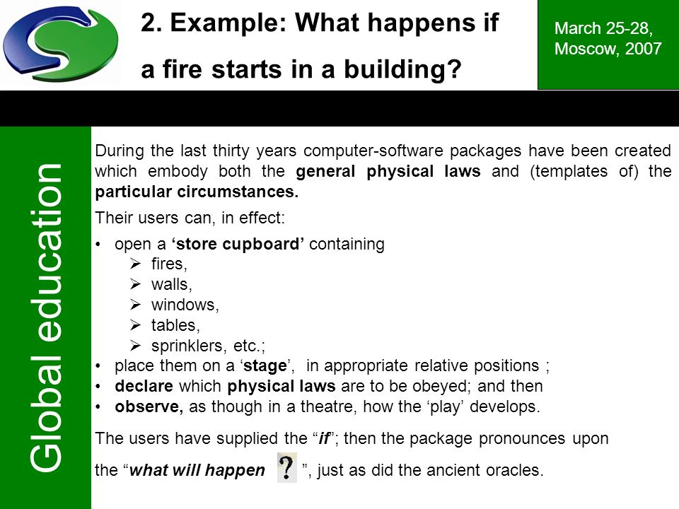 Global education March 25-28, Moscow, 2007 2. Example: What happens if a fire starts in a building.