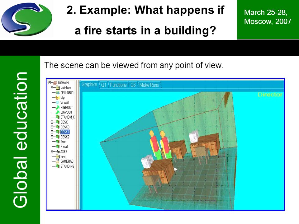 Global education March 25-28, Moscow, Example: What happens if a fire starts in a building.