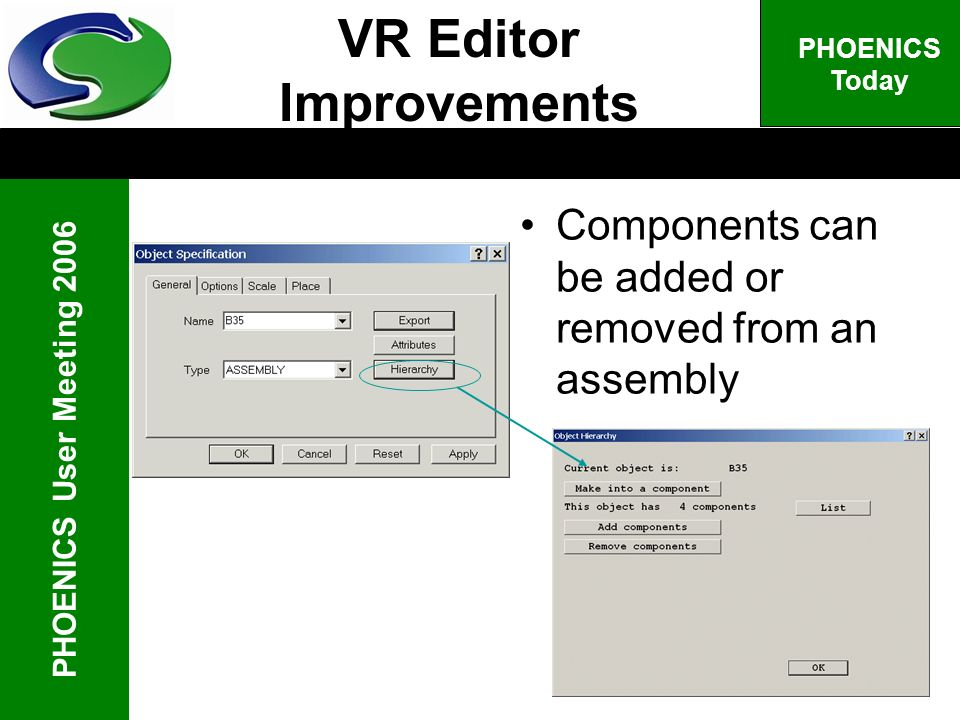 PHOENICS User Meeting 2006 PHOENICS Today Components can be added or removed from an assembly VR Editor Improvements