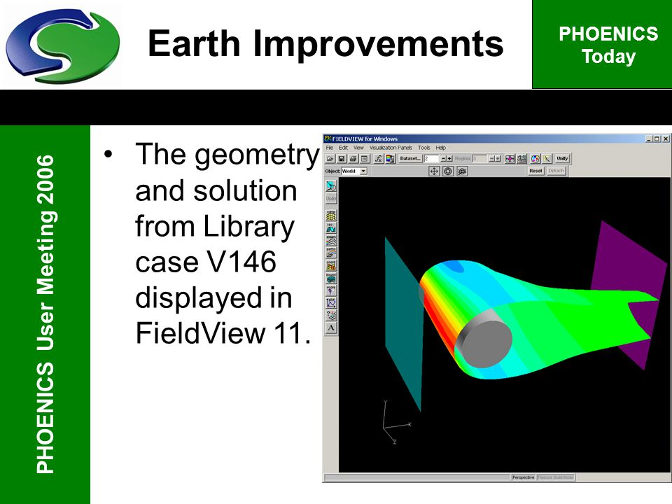 PHOENICS User Meeting 2006 PHOENICS Today Earth Improvements The geometry and solution from Library case V146 displayed in FieldView 11.