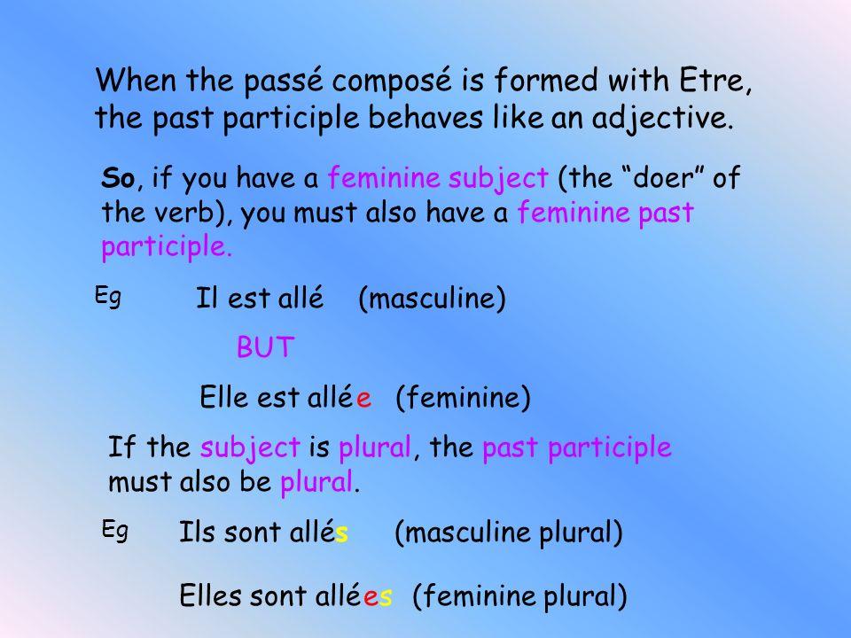 List of Verbs which use Etre to form their Passé Composé Monter VenirDescendre Rester AllerEntrer SortirNaîtreRetourner Tomber Rentrer Arriver Mourir