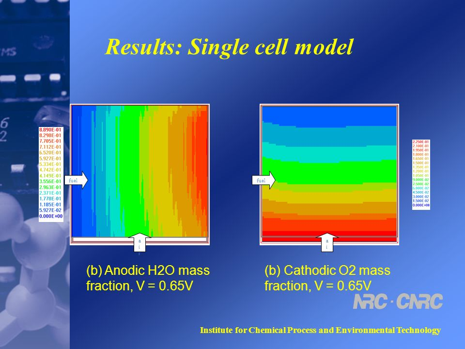 Institute for Chemical Process and Environmental Technology Results: Single cell model fuel airair airair (b) Anodic H2O mass fraction, V = 0.65V (b) Cathodic O2 mass fraction, V = 0.65V