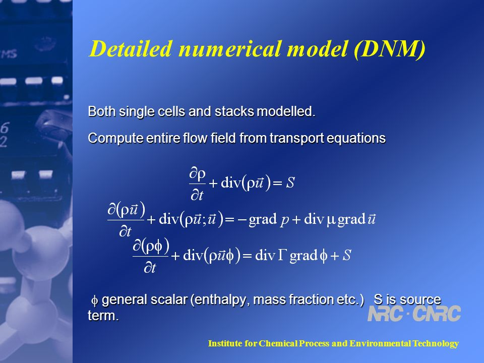 Institute for Chemical Process and Environmental Technology Detailed numerical model (DNM) Both single cells and stacks modelled.