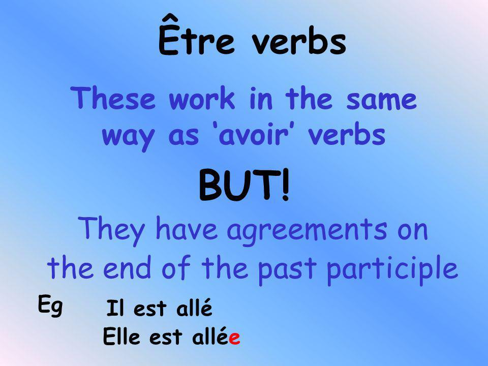 You need 3 things to make the past tense Subject Auxiliary verb (avoir or être) Past participle