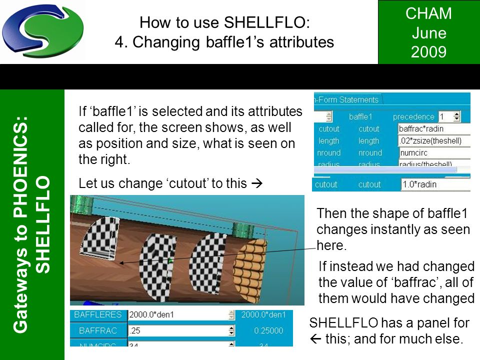 CHAM June 2009 Gateways to PHOENICS: SHELLFLO How to use SHELLFLO: 4. Changing baffle1s attributes If baffle1 is selected and its attributes called fo
