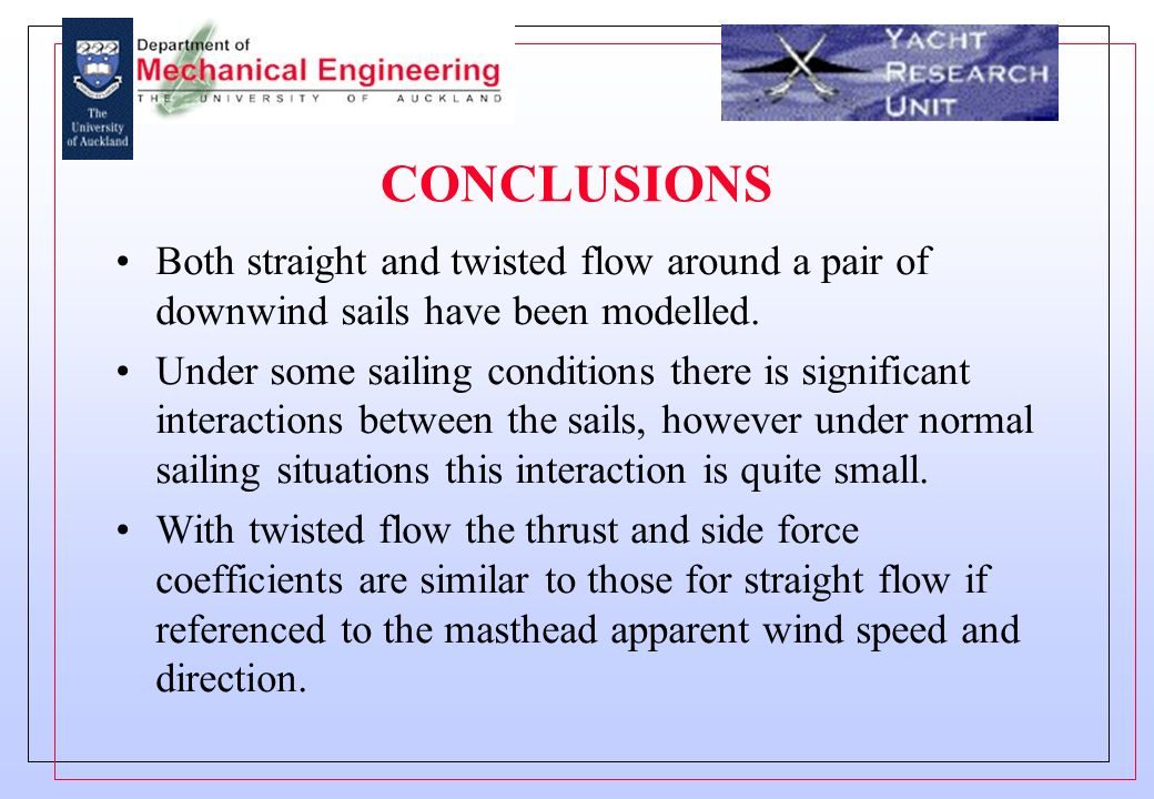 CONCLUSIONS Both straight and twisted flow around a pair of downwind sails have been modelled.