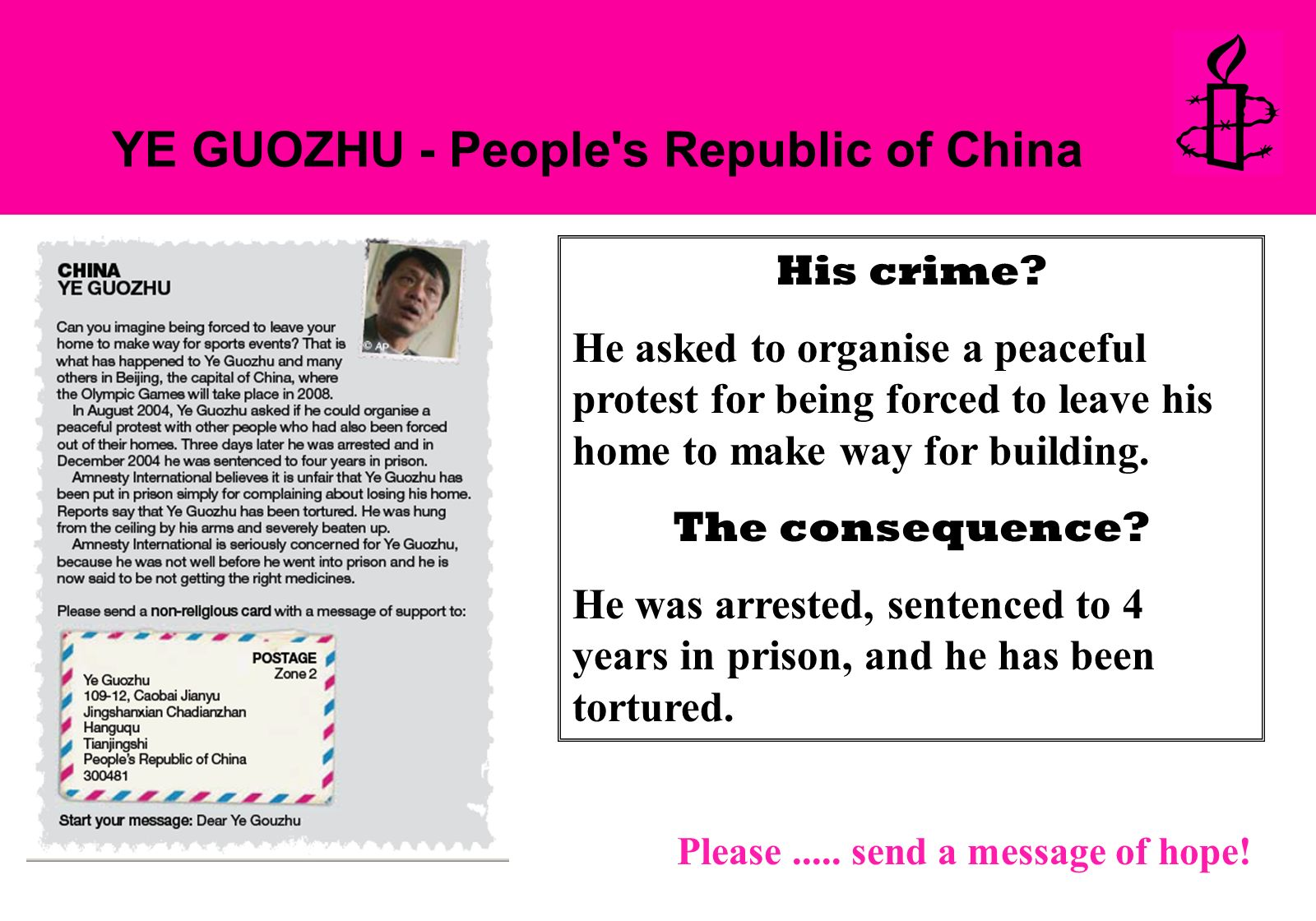 YE GUOZHU - People s Republic of China His crime.