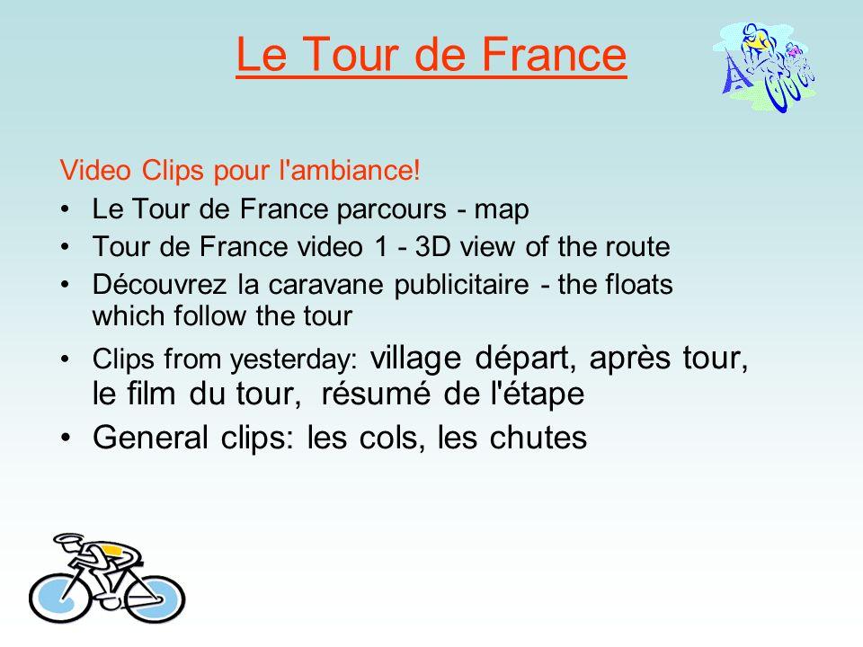 Le Tour de France Video Clips pour l'ambiance! Le Tour de France parcours - map Tour de France video 1 - 3D view of the route Découvrez la caravane pu