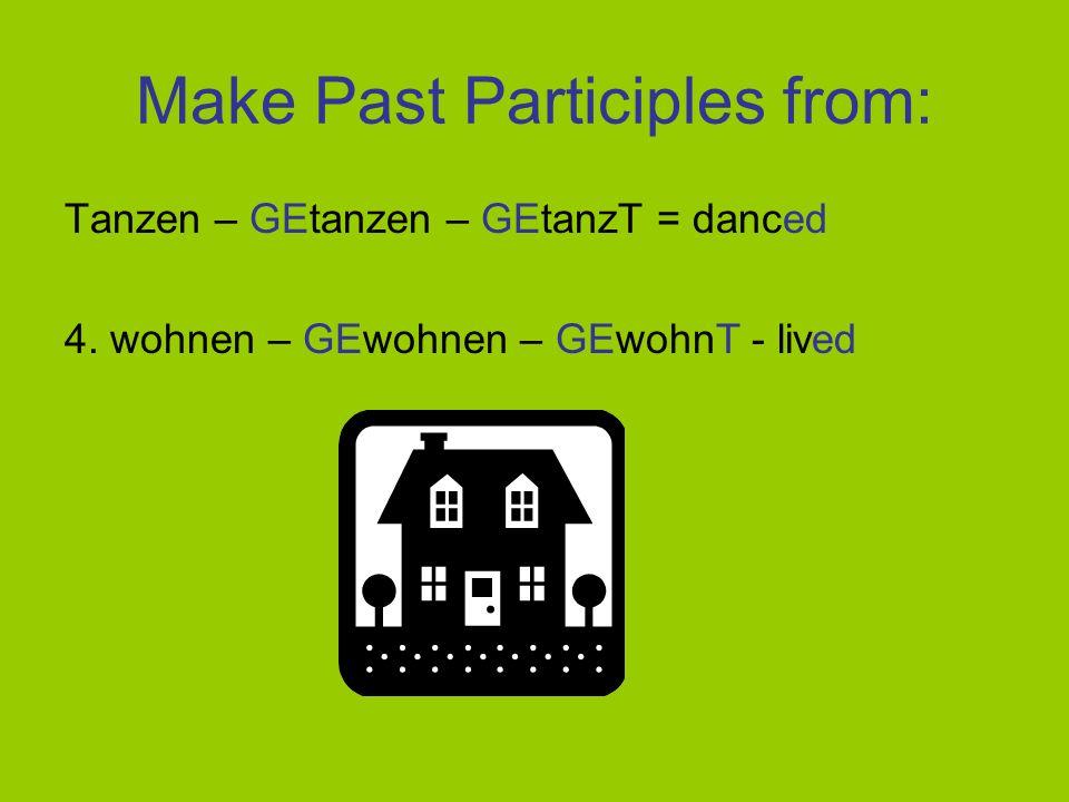 Make Past Participles from: Tanzen – GEtanzen – GEtanzT = danced 4. wohnen = to live