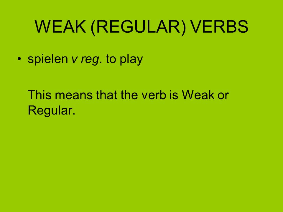 How do I know if a verb is weak.Look up the verb spielen in the Malvern Guide dictionary.