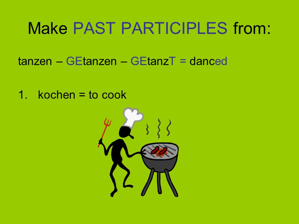 The Past Participle To make the Past Participle 1. Take the INFINITIVE OF THE VERB (i.e. the form in the dictionary) e.g. spielen = to play, basteln =