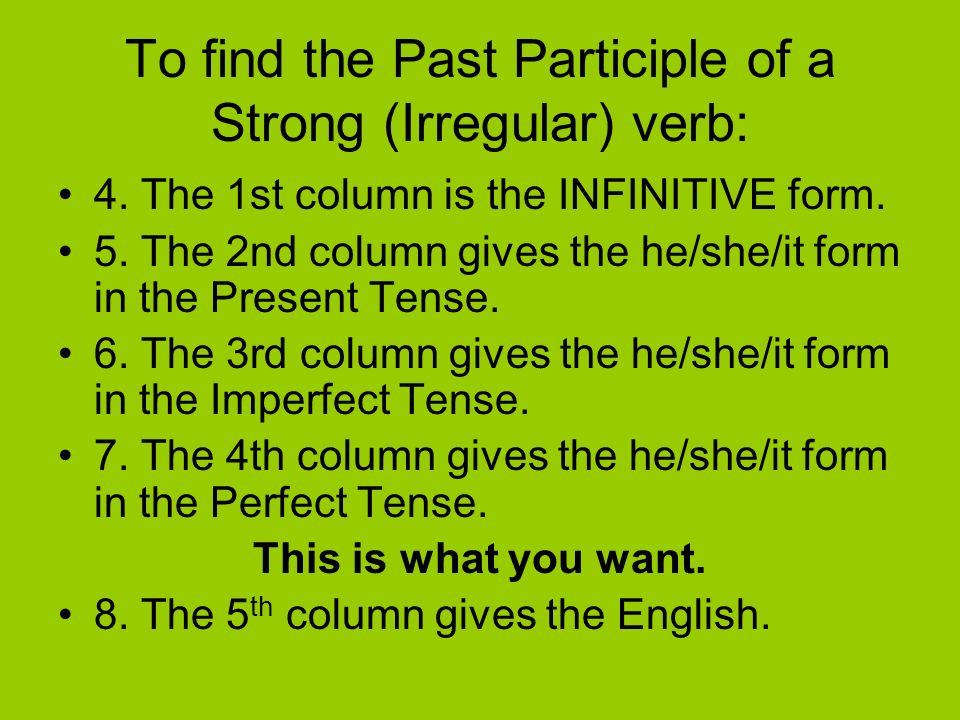 To find the Past Participle of a Strong (Irregular) verb: 1. Go to the BACK of the Malvern Guide dictionary (Page 210) to the Verb Tables. 2. Here you