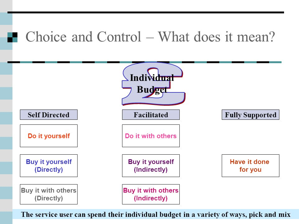 Choice and Control – What does it mean? Do it yourself Buy it yourself (Directly) Buy it with others (Indirectly) Buy it yourself (Indirectly) Buy it