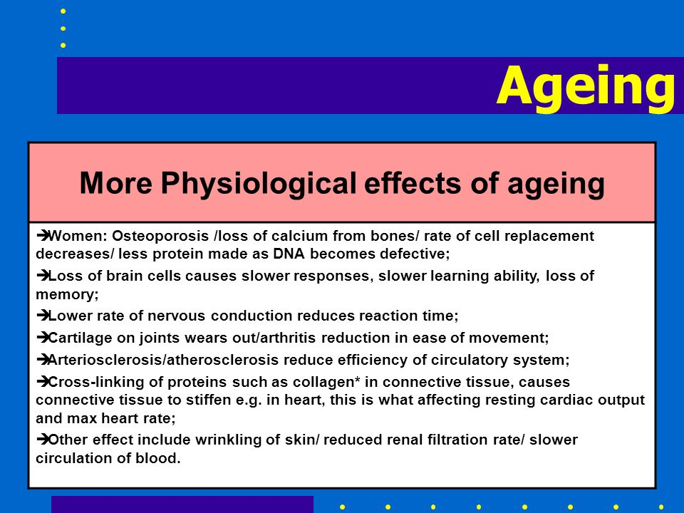 Ageing More Physiological effects of ageing è Women: Osteoporosis /loss of calcium from bones/ rate of cell replacement decreases/ less protein made a
