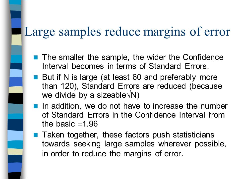 T-tables show that for N=16, there are N-1=15 degrees of freedom; so we use 2.13 Standard Errors instead of 1.96 Standard Errors for the 95% CI T-DIST
