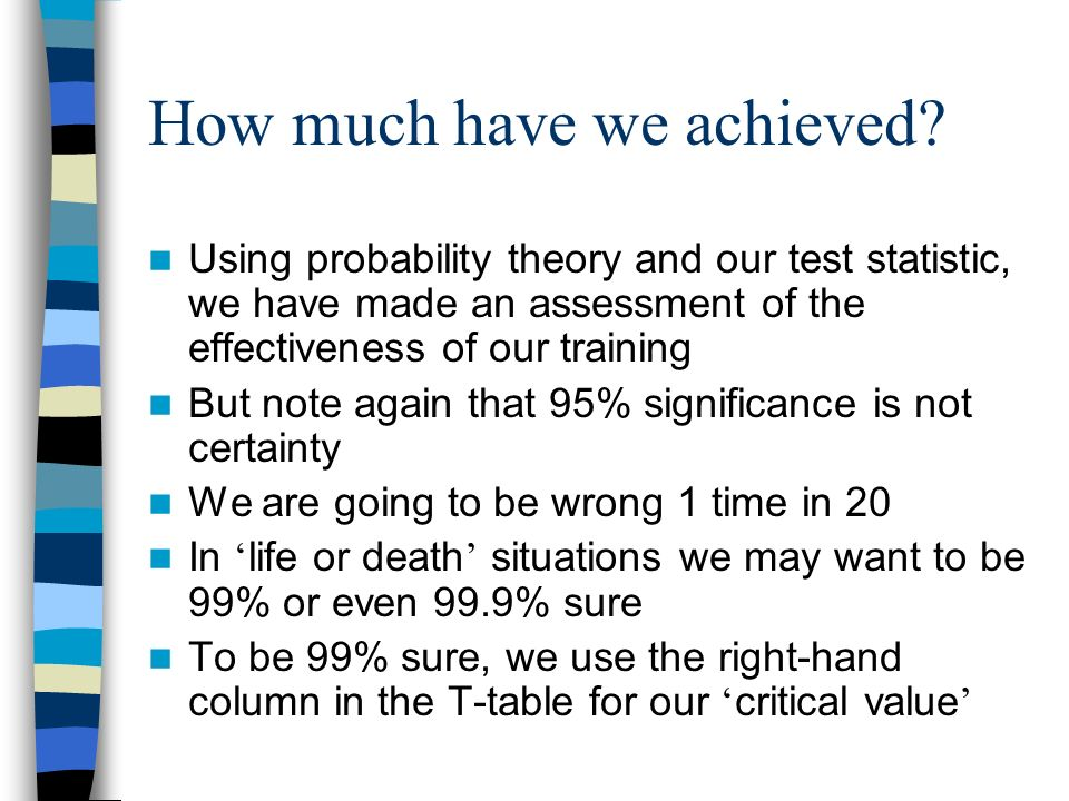 Concluding the test At our selected probability level, the T-statistic we have calculated is greater than the number in the table Remind me what this