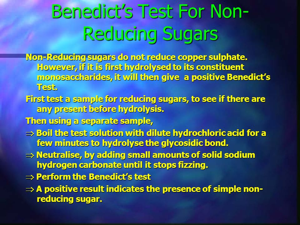 Benedicts Test For Reducing Sugars All monosaccharides and most disaccharide's will reduce copper (II) sulphate, producing a precipitate of copper (I)