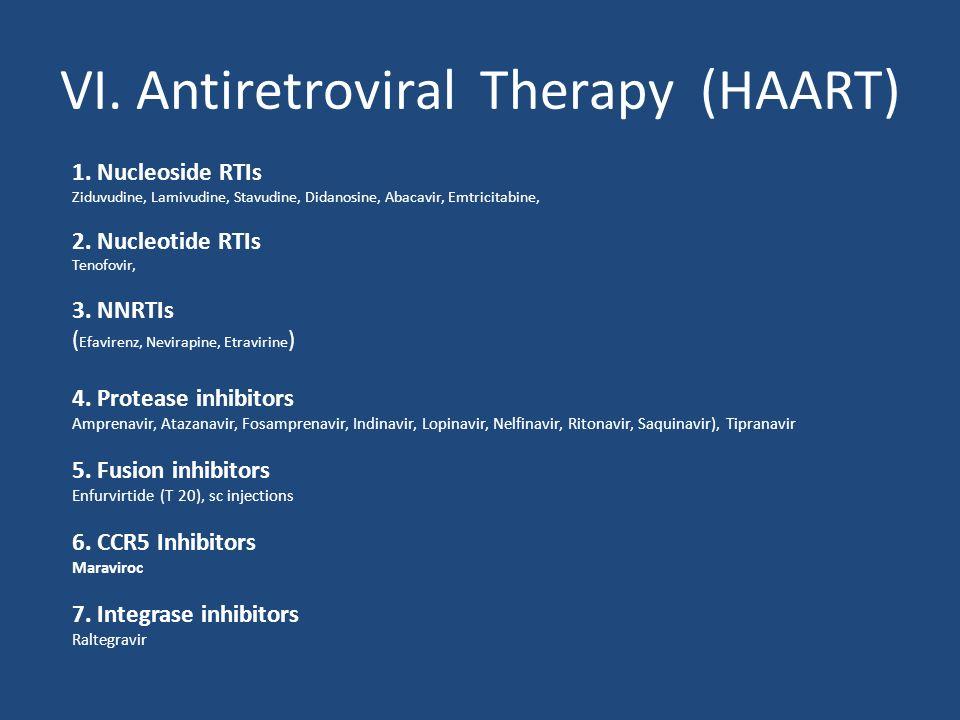 VI. Antiretroviral Therapy (HAART) 1. Nucleoside RTIs Ziduvudine, Lamivudine, Stavudine, Didanosine, Abacavir, Emtricitabine, 2. Nucleotide RTIs Tenof