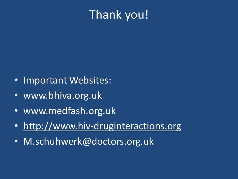Thank you! Important Websites: www.bhiva.org.uk www.medfash.org.uk http://www.hiv-druginteractions.org M.schuhwerk@doctors.org.uk