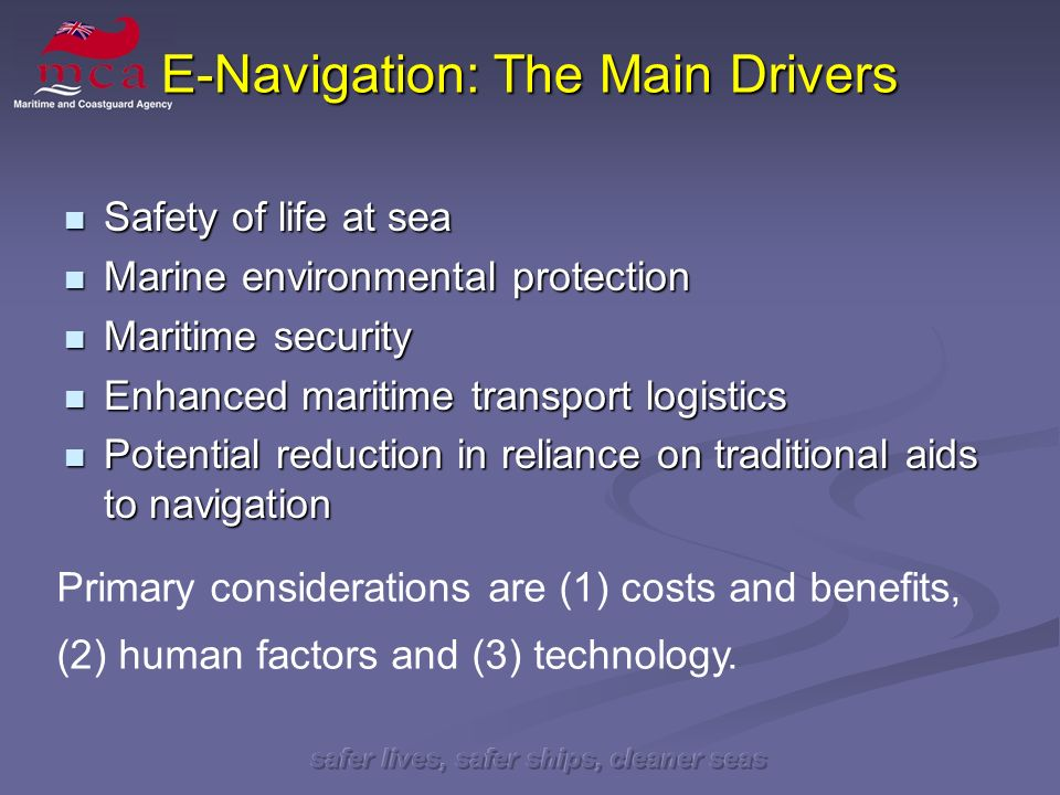 safer lives, safer ships, cleaner seas Setting the Scene July 2007 July 2007 Trinity House E-Navigation Seminar Trinity House E-Navigation Seminar NAV 53 (23-27 July) NAV 53 (23-27 July) E-Navigation Working Group established E-Navigation Working Group established Consideration of the Correspondence Group Report Consideration of the Correspondence Group Report
