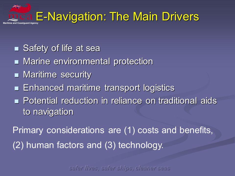 safer lives, safer ships, cleaner seas E-Navigation: The Main Drivers Safety of life at sea Safety of life at sea Marine environmental protection Mari
