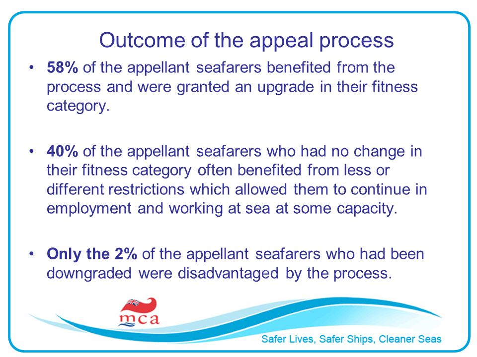 Outcome of the appeal process 58% of the appellant seafarers benefited from the process and were granted an upgrade in their fitness category. 40% of