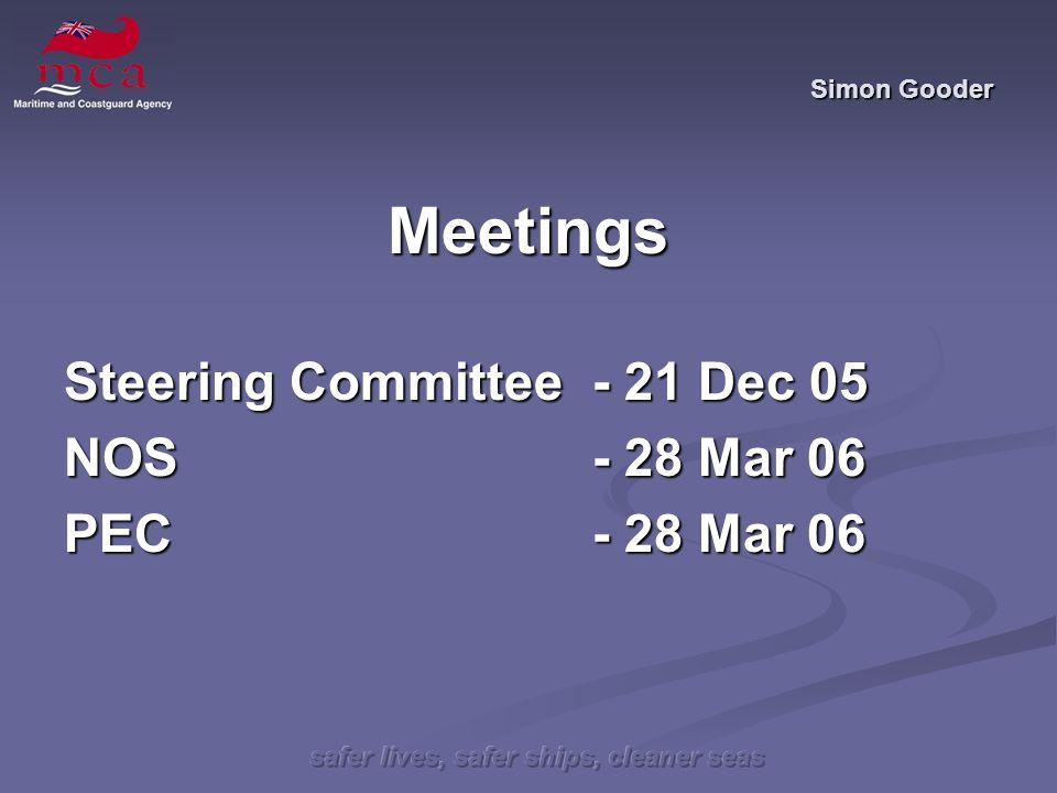 safer lives, safer ships, cleaner seas Simon Gooder Meetings Steering Committee- 21 Dec 05 NOS - 28Mar 06 PEC - 28 Mar 06