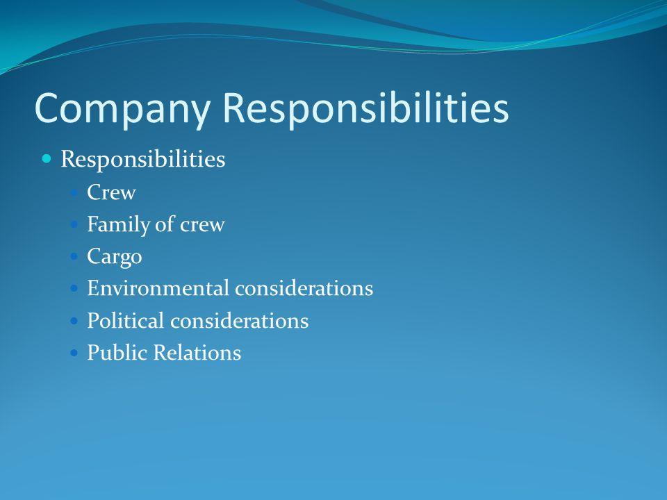 Company Responsibilities Responsibilities Crew Family of crew Cargo Environmental considerations Political considerations Public Relations