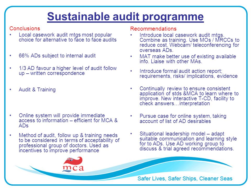Sustainable audit programme Conclusions Local casework audit mtgs most popular choice for alternative to face to face audits 66% ADs subject to internal audit 1/3 AD favour a higher level of audit follow up – written correspondence Audit & Training Online system will provide immediate access to information – efficient for MCA & ADs Method of audit, follow up & training needs to be considered in terms of acceptability of professional group of doctors.