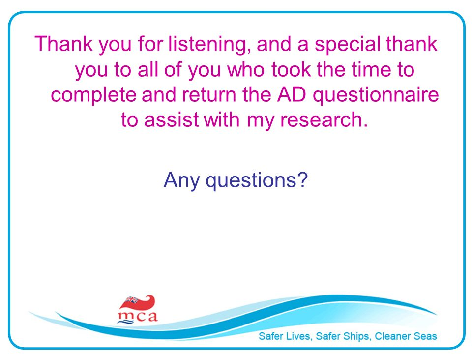 Thank you for listening, and a special thank you to all of you who took the time to complete and return the AD questionnaire to assist with my research.